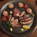 焼鳥 赫色 - お造り盛合せ(もも肉藁タタキ、肝造り、生つくね、ハート造り)1,300円