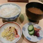 吉喜 - 牡蠣みそ定食(味噌汁はこうじ味噌を使ったしじみ汁でした)