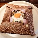 Burettsukafekurepuri - ハムチーズエッグマッシュルームガレット