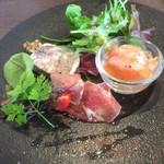 76662696 - サーモンのマリネと、リンゴのコンポート生ハム巻き、鹿肉のパテ、生野菜