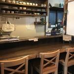 自家焙煎コーヒーcafe・すいらて - これが奥のカウンター席、ここが一等席なんですが、絵的には少し明かりが足りません(2017.11.19)