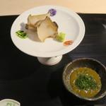 みや - 29年11月 蒸し蝦夷鮑 山葵、四万十青海苔と肝醤油