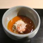 みや - 29年11月 ズワイガニ茶碗蒸し 卵黄ソース