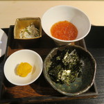 みや - 29年11月 御飯のお供 唐墨、ジャコ、イクラ、海苔