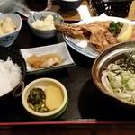 76677371 - 魚フライ定食 冷えうどん+