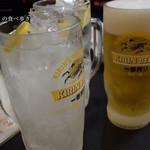 赤札屋 - メガチューハイ 150円×2、生ビール大 680円で乾杯