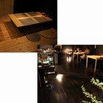 ジャパネスク コハク - カウンター席、二人テーブル3卓、四人テーブル1卓、小上がり四人テーブルが3卓。