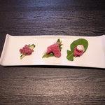 近江牛と地元野菜 ダイニングMOO - 生モノ3種盛り