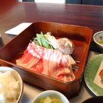 7668922 - 六白黒豚のしゃぶしゃぶは薩摩茶のお鍋で頂きます