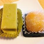 花扇 - 芋羊羹、かぼちゃ餡とレアチーズ入りの大福