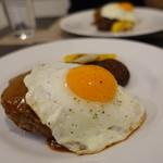 鉄板焼ダイニングKUNI - 黒毛和牛100%ハンバーグ目玉焼きのせ
