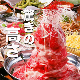 インスタ映え!地鶏×黒豚タワー肉鍋を堪能する!