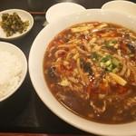 リトル成都 - ランチの酸辣湯麺+高菜ご飯