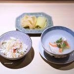 龍眉虎ノ尾 西麻布 - 本日の土鍋ごはん、アカハタのアラのスープ