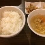 黒毛和牛焼肉 白か黒 - ご飯・スープ