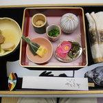 7680326 - 先付け、前菜 (左の黄色い器にあったカブと麩は食べました)