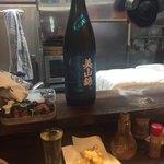 あさひ町スタンド - 栄光富士(日本酒)+アオリイカのゲソ天