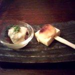 四旬季 - 焼き味噌田楽とマグロ山掛けのお通し
