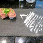 琉球回転寿司 海來 - A5ランク石垣牛の特選霜降りの炙り(1,000円)