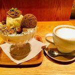 和カフェ yusoshi chano-ma - 藤井茶園のほうじ茶香るモンブランパフェ  1,300円(ドリンクセット) カフェラテホット