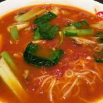 太陽のトマト麺 - 太陽のラーメン¥777。 ちょっとビジュアルがね、盛り付けセンスナッシング。