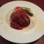 76845850 - 熟成和牛・アンガス牛・越後豚・本州鹿の特製ハンバーグ 5時間煮込んだ濃厚トマトソース