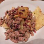 コヒツジヤ ラムマン - ラムそぼろのじゃが芋と酒盗バター。