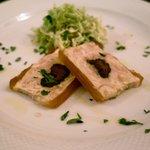 7686300 - 薩摩鶏とプルーンのテリーヌ、春キャベツのサラダ添え