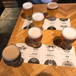 76860718 - 【2017年08月】テイスティング@1,280円/3種、の提供時を上から、よく見ると7種のテイスティングビールのどれが提供されてるかが分かります、よく出来てる(^^)/