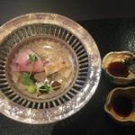 京都幽玄 - 鰤と伝助穴子の焼き霜