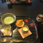 京都幽玄 - 甘味、柿のシャーベット、薩摩芋のモンブラン、濃厚卵と和三盆のプリン、お薄