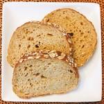 breadworks - ブランブレッド 1/2 @250円 3カット分。全部で6カット。 パンはカットしてあるから、そのまま食べられて楽ちん。
