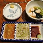 かつ吉 渋谷店 - 三味ダレ(おろしポン酢、ネギ塩、わさび醤油)