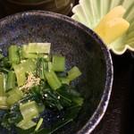 京のそば処 花巻屋 - 野沢菜と沢庵 アップ