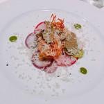 76888425 - 和歌山県産アシアカエビ、根菜とトリュフ、アンチョビバター