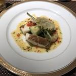ビストロ ファンベック マサミ - 白身魚、帆立、車海老のソテー 季節の野菜添え