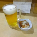 焼き鳥 千羽 - 生ビール(中)とお通し
