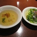 メヒコ つくばフラミンゴ館 - セットのサラダとスープ