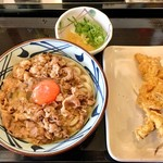 丸亀製麺 - 牛すき釜玉&かしわ天