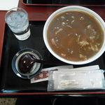 川崎増田屋 - カレー丼です、いつの頃からか大きな使い捨ておしぼりが付くようになりました