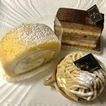 ナッシュカッツェ - 料理写真:ナッシュカッツェ&くりのロールケーキ&和栗のモンブラン