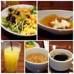 ハカタ オノ - *たまにはお野菜も。(^^;) *デザートは「ウーロン茶ゼリー」 *野菜スープ *オレンジジュースや珈琲。