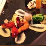 76951456 - 赤海老のペニェサラダ仕立 甲殻香る2種のソース