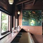山の茶屋 楽水 - 2Fの座敷カウンター席へ。