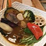 76964636 - 15種類の野菜と牛すじカレー(ごぼう抜き)