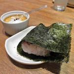 藍風珈琲店 - おにぎりと黒糖プリン ご飯は五穀米かな?