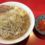 千里眼 - ラーメン 麺150g ヤサイ少なめ・アブラちょっと・ニンニク・ショウガ・カラアゲ別皿で 730円