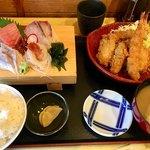 77000908 - 刺身4種と海老、カキフライ定食1950円