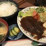 77009905 - ハンバーグ定食 800円。