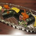 旬魚と個室 和食りん  - 新秋刀魚と香味野菜の磯部巻き 680円